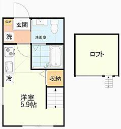 JR中央線 吉祥寺駅 徒歩15分の賃貸アパート 2階ワンルームの間取り
