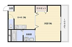 大阪府大阪市平野区喜連東2丁目の賃貸アパートの間取り