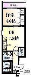 阪神本線 武庫川駅 徒歩7分の賃貸アパート 1階1DKの間取り