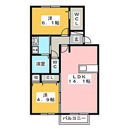 グレースタウン江南 H 1階2LDKの間取り