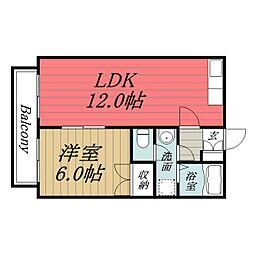 JR東金線 求名駅 徒歩34分の賃貸アパート 2階1LDKの間取り