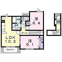 JR横浜線 町田駅 バス16分 上山崎下車 徒歩3分の賃貸アパート 2階2LDKの間取り