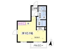Y・forest II(ワイ・フォレスト ツー) 2階ワンルームの間取り
