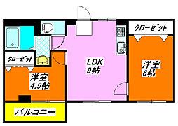サンライフ・小阪608号室[6階]の間取り
