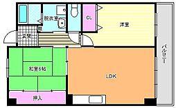 インテグレート東田辺[4階]の間取り
