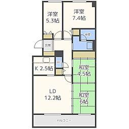 北海道札幌市東区東苗穂十四条3丁目の賃貸マンションの間取り