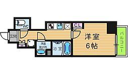 エグゼ阿倍野 7階1Kの間取り