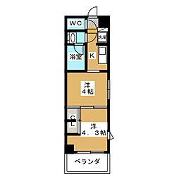 グランド・ガーラ東大島 3階2Kの間取り