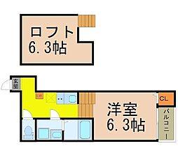 愛知県名古屋市中川区十番町2丁目の賃貸アパートの間取り