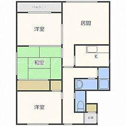 北海道札幌市東区北二十五条東22丁目の賃貸マンションの間取り