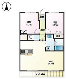 ベル・ウッドマンション[209号室]の間取り