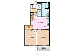 三重県亀山市野村3丁目の賃貸アパートの間取り