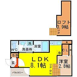 愛知県名古屋市中川区野田1の賃貸アパートの間取り