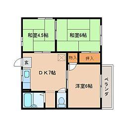 奈良県奈良市今市町の賃貸アパートの間取り