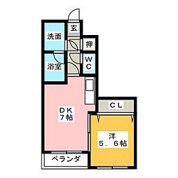 サンコート西日置[6階]の間取り