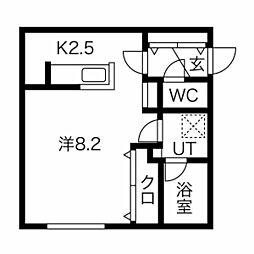 仮称)澄川2-3A棟 2階1Kの間取り