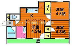 岡山県岡山市北区南方5の賃貸アパートの間取り