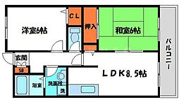 ラリヴェールレスト 3階2LDKの間取り