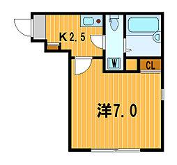 神奈川県横浜市磯子区磯子2の賃貸アパートの間取り