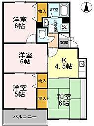 東京都武蔵村山市三ツ木1丁目の賃貸アパートの間取り