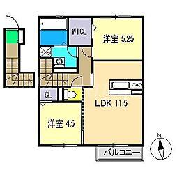 グリーンコートA棟[2階]の間取り