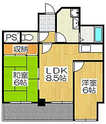 メロディハイム松原[607号室]の間取り