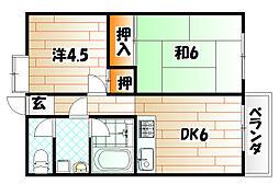 福岡県北九州市戸畑区中原東1丁目の賃貸マンションの間取り