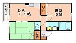 福岡県福岡市南区警弥郷1丁目の賃貸アパートの間取り