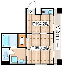 神戸市海岸線 ハーバーランド駅 徒歩9分の賃貸マンション 2階1DKの間取り