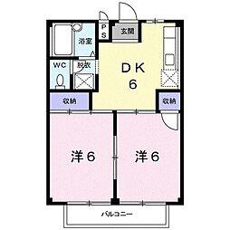 リバーサイド小川B[0203号室]の間取り