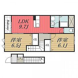 JR成田線 久住駅 徒歩9分の賃貸アパート 2階2LDKの間取り