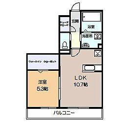 相鉄本線 かしわ台駅 徒歩3分の賃貸アパート 2階1LDKの間取り