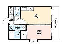 JR東海道・山陽本線 吹田駅 徒歩7分の賃貸マンション 2階1DKの間取り