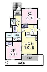 神奈川県横浜市青葉区すみよし台の賃貸アパートの間取り