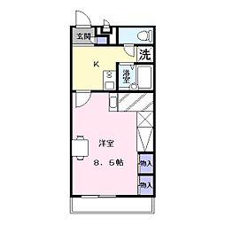 奈良県大和郡山市矢田町の賃貸アパートの間取り