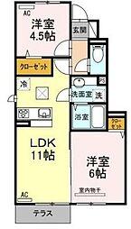 サンハートピアC棟[1階]の間取り