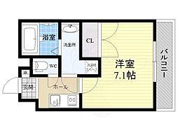 アッシュメゾン加美正覚寺2 2階1Kの間取り