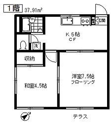 東京都目黒区五本木3丁目の賃貸アパートの間取り