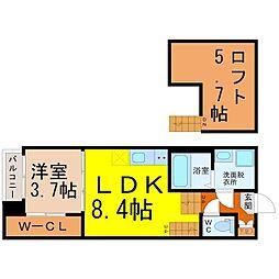 Maison Etoa 1階1LDKの間取り
