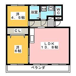 第1我心ヶ丘マンション[1階]の間取り
