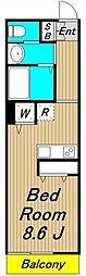 SHIMOKITA APARTMENT 3階ワンルームの間取り