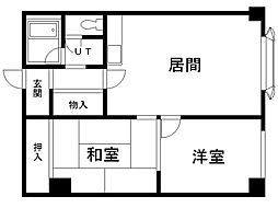 第51松井ビル 2階2LDKの間取り