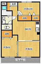 元今泉4丁目 3DKマンション[4階]の間取り