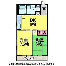 千葉県佐倉市宮前3丁目の賃貸アパートの間取り