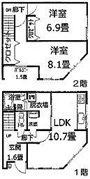 [一戸建] 大阪府大阪市阿倍野区文の里2丁目 の賃貸【/】の間取り