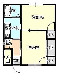 坂田アパート 2階2Kの間取り