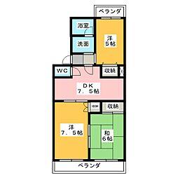 ビューネ松富I[1階]の間取り