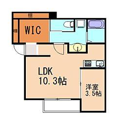 イルシオン志免中央 3階1LDKの間取り