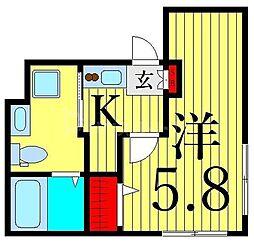 つくばエクスプレス 浅草駅 徒歩13分の賃貸マンション 4階1Kの間取り