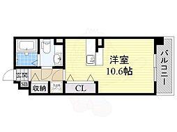 エスタシオン高石 4階ワンルームの間取り